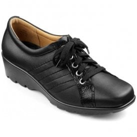 Womens Pippa Black Leather Lace Up Shoes
