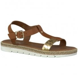 Womens Nut-Combi T-Bar Sandals 2-2-28620-26 441
