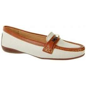 Womens Annie White/Tan Slip On Loafers V536