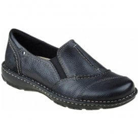 Womens Delaware Black Leather Slip On Shoes