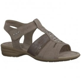 Womens Light Taupe T-Bar Sandals 8-8-28163-26 438