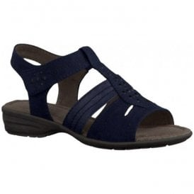 Womens Navy T-Bar Sandals 8-8-28163-26 805