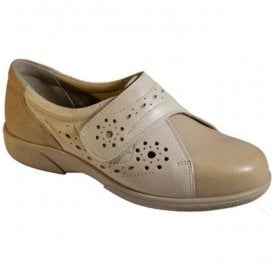 Womens Weston Beige/Light Beige Leather Velcro Shoes 78449H EE-4E (2V)