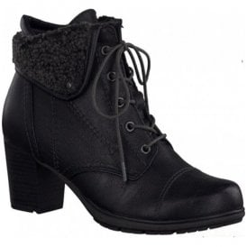 Womens Black Lace Up Ankle Boots 8-8-26161-25-001