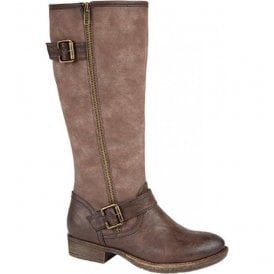 Womens Brown Zip High Leg Boots L847B