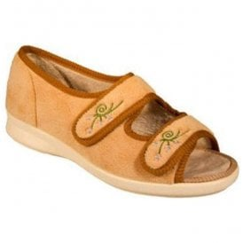 Womens Ace 2 Camel Velcro Wide Fitting Slippers 71075C EE-4E (2V)