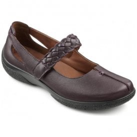 Womens Shake Plum Strap Over Leather Shoes