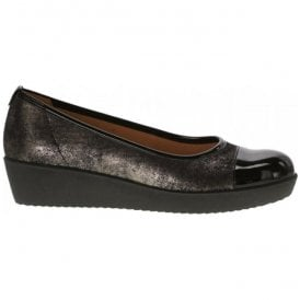 Womens Orient Metallic Black Two-Tone Slip On Pump 76.471.97