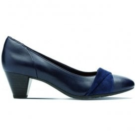 Womens Denny Louise Navy Leather Combi Court Shoes