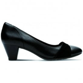 Womens Denny Louise Black Leather Combi Court Shoes