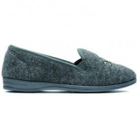 Womens Marsha Rose Grey Felt Slippers