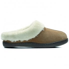 Womens Home Classic Tan Suede Fur Lined Slippers