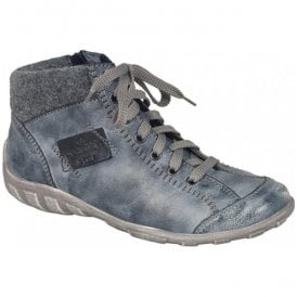 Womens Jura Blue-Combi Lace Up Ankle Boots L6540-14
