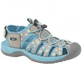 Womens Grey/Teal Velcro Trail Sandals L9529FE