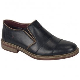 Clarino Black Leather Slip On Casual Shoes 17661-00