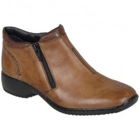 Cristallin Brown Zip Ankle Boots L3882-24