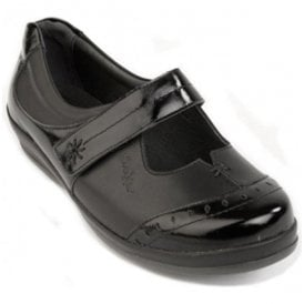Womens Filton Black Leather/Patent Extra Wide Shoes
