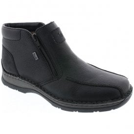 Michigan Black Leather Zip Up Waterproof Ankle Boots 32363-00