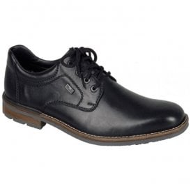 Cristallin Black Leather Lace Up Waterproof Shoes B1312-00