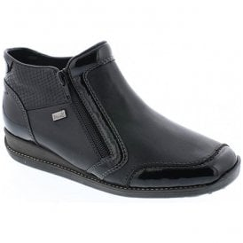 Womens Luxor Black Leather Waterproof Zip Ankle Boots 44278-00