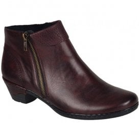Cristallin Bordo Red Zip Ankle Boots 76961-35