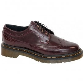 Womens Vegan 3989 Cherry Red Lace Up Brogue Shoes 16153601