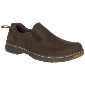 Mens Brennan Dark Brown Leather Slip On Shoes 22880201