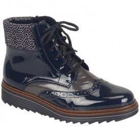Softlack Blue Combi Lace Up Ankle Boots Y6323-15