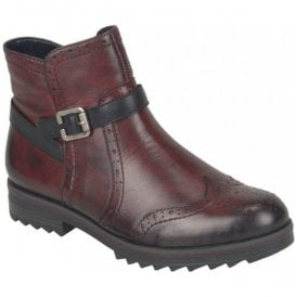 Womens Cristallin Red Combi Ankle Boots R2278-35