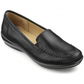 Womens Jazz Extra Wide Black Lizard Leather Slip On Shoes