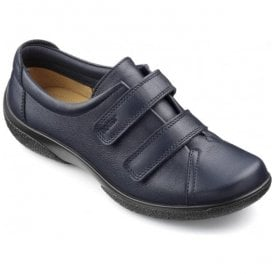 Womens Leap Extra Wide Navy Leather Velcro Shoes