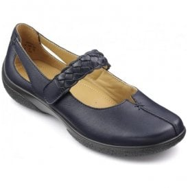 Womens Shake Extra Wide Navy Leather Strap Over Shoes