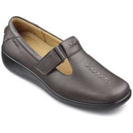 Womens Sunset Extra Wide Gunmetal Leather Velcro Shoes