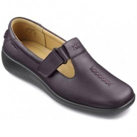 Womens Sunset Extra Wide Plum Leather Velcro Shoes