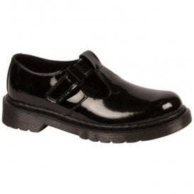 Junior Goldie J Black Patent T-Bar Shoes 21774001