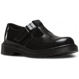 Youths Goldie Y Black Patent T-Bar Shoes 21986001