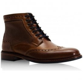 Mens Hitchcock Tan Leather Derby Brogue Boots