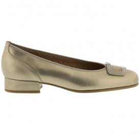 Womens Frenzy Silver/Gold Leather Slip On Court Shoes 66.103.62