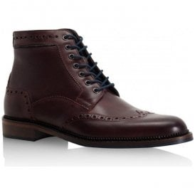 Mens Hitchcock Dark Bordo Leather Derby Brogue Boots
