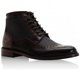 Mens Bashall Brown Leather Derby Brogue Boots