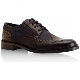 Mens Eaves Brown/Grey Leather Derby Brogue Shoes