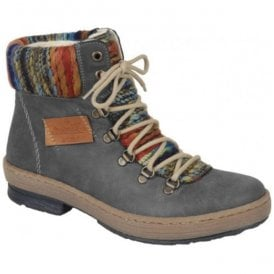 Balitimore Grey Combi D-Ring Ankle Boots Z6743-45
