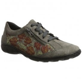 Pristina Grey Floral Casual Lace Up Flat Shoes M3701-42