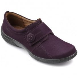 Womens Sugar Extra Wide Plum Nubuck Velcro Shoes