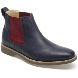 Mens Cardoso Vintage Navy Leather Chelsea Boots
