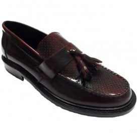 Mens Quad Punch Bordo Slip-On Tassel Loafer
