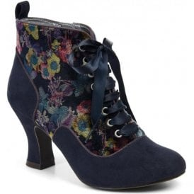 Womens Bailey Navy Zip-Up Ankle Boots 09141