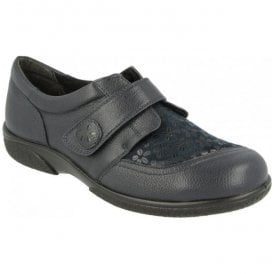 Womens Keswick Navy Floral Leather Velcro Shoes 78552N EE-4E (2V)