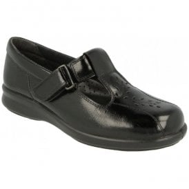 Womens Kinross Black Patent Leather Velcro Shoes 79563Q 4E