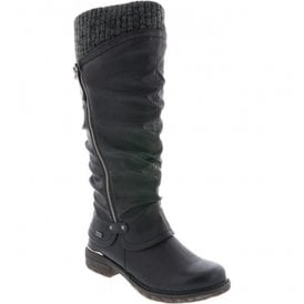 Eagle Black Waterproof High Leg Knitted Boot With Side Zip 98956-00